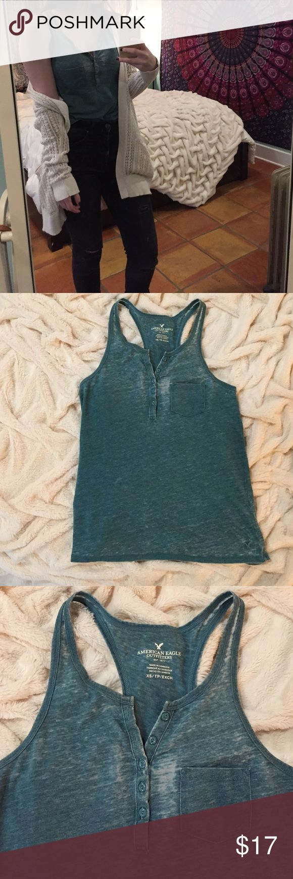 American Eagle XS Green Tank Top American eagle green tank top. Size XS. Fits loose. In great condition! Very soft. American Eagle Outfitters Tops Tank Tops