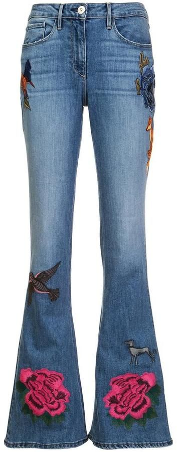 3X1 embroidered flared jeans