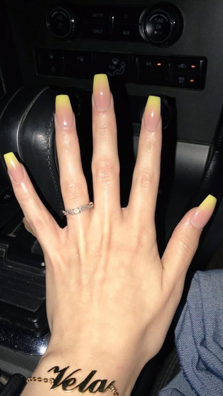 Yellow Ombré Coffin Nails  credit to owner  # ...