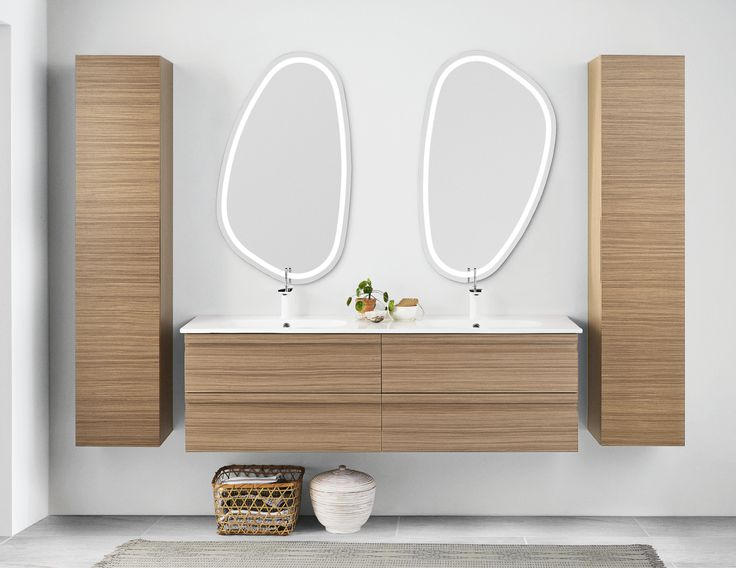 Dansani Zaro drawers and cabinets are beautifully crafted walnut veneer that really allows the structure to present itself. Two Solo mirrors with LED lighting effect.
