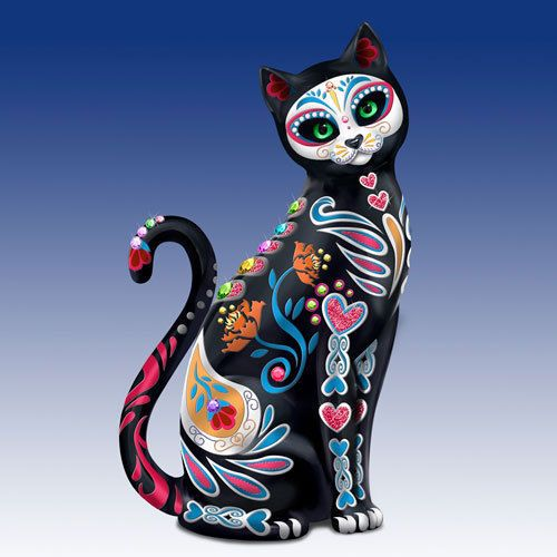 Purr-Fectly Sweet Sugar Skull Cat Figurine - Bradford Exchange