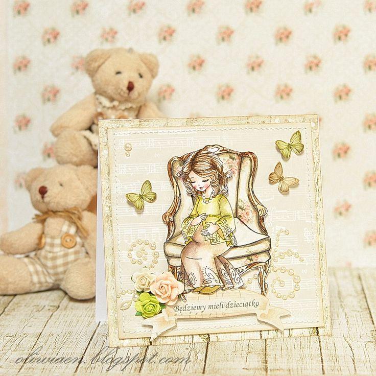 Kartka z nowiną o ciąży. polandhandmade.pl #polandhandmade , #scrapbooking, #kartka, #ciaza