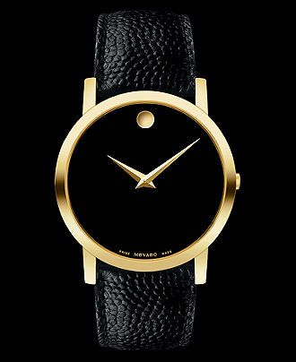 Movado Watch, Men's Swiss Black Leather Strap 39mm 0606086 - Men's Watches - Jewelry & Watches - Macy's