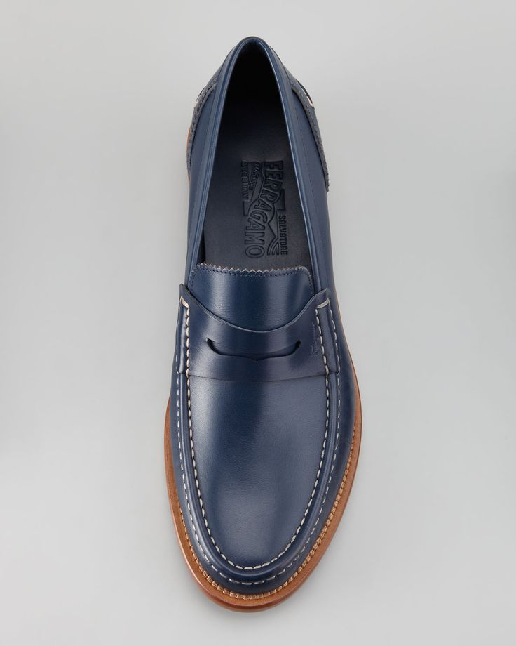 Salvatore Ferragamo / Titano Penny Loafer, Indigo / Salvatore Ferragamo induces the classic style of the Titano loafer with the new-neutral shade of the season to give you a respectable, uncommon presence.