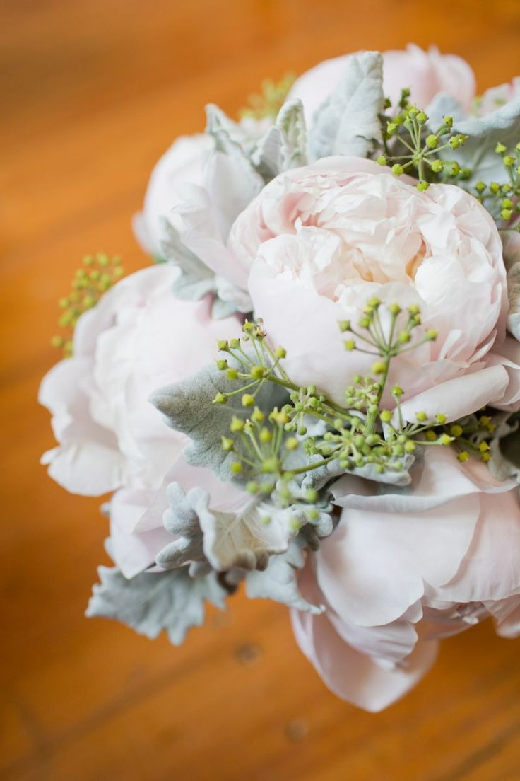 Bide's bouquet, beautiful mix of light rose peonies and grey dusty miller