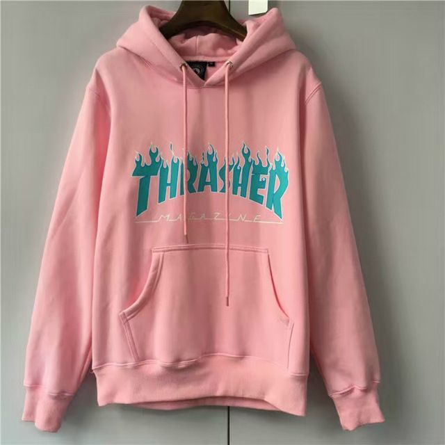 THRASHER FLAME LOGO HOODIES Men Box Supremo Paccbet Moletom Hip Hop Skateboards Magazine Kanye Pullover Shark Blaze Sweatshirts *SIZE M/L