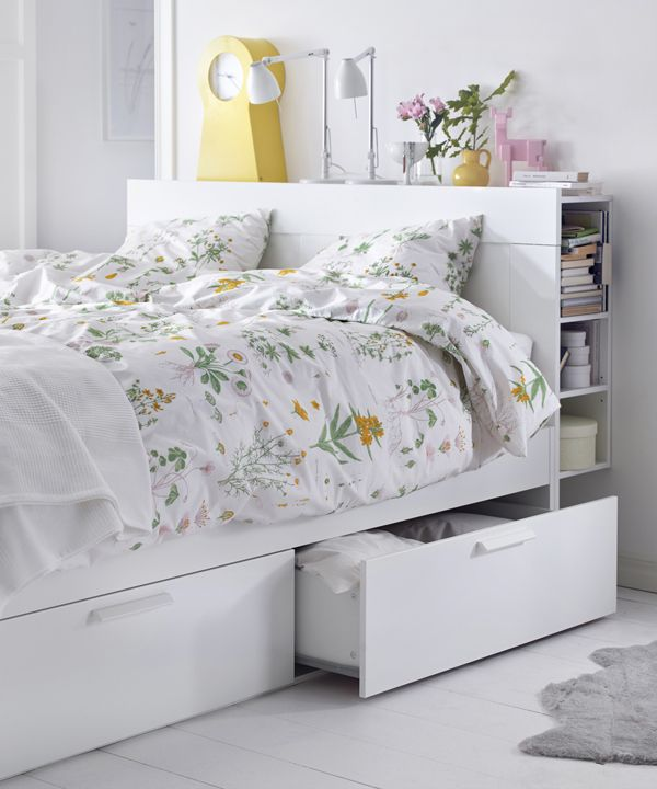 Keep your bedroom organized with hidden storage! The IKEA BRIMNES bed frame has four large drawers to create storage space under the bed. For extra storage, add the headboard, which has shelves to hold books, phones or chargers!