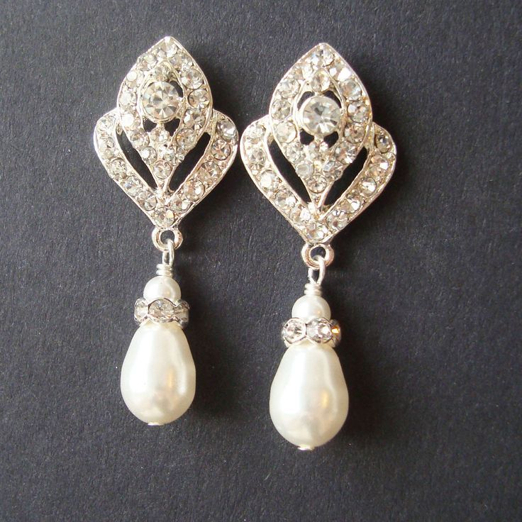 Wedding Jewelry, Art Deco Bridal Earrings, Pearl Wedding Earrings, Vintage Style Bridal Jewelry, Rhinestone Earrings, IVANA. $49.00, via Etsy.