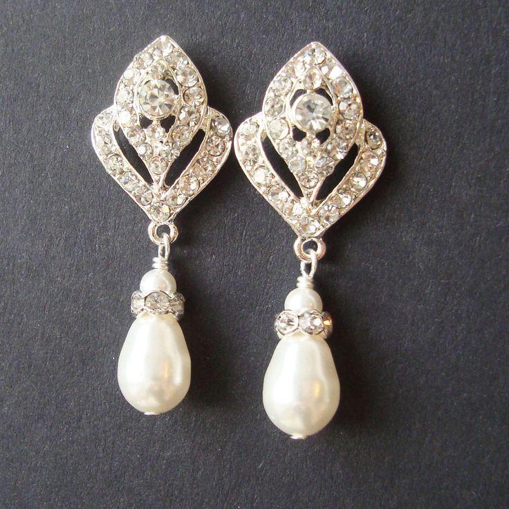 Wedding Jewelry, Art Deco Bridal Earrings, Pearl Wedding Earrings, Vintage Style Bridal Jewelry, Rhinestone Earrings, IVANA. $49.00, via Etsy.