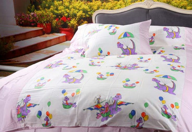 Cartoon Dinosaur Park Light Pink Dinosaur Bedding Set