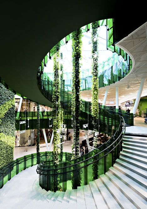 Green helical giant at Emporia shopping centre in Malmö by Wingårdhs via Dezeen