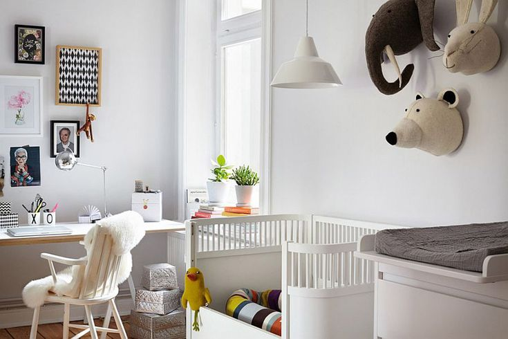 Baby Nursery Home Office With Scandinavian Nursery Features Stuffed Animal Head Wall Decors Also White Convertible Crib Plus Changing Table Besides Windsor Armchair And Furry Throw With Floating Desk Also Framed Wall Arts Plus Pendant Light Besides Potted Plants With Window Comfy Scandinavian-Style Nursery Ideas (Part 2)