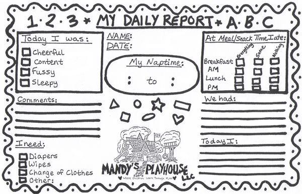 Preschool daily sheet, Preschool daily report, Preschool