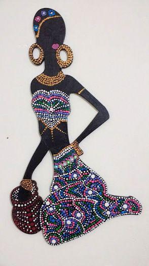 Africana pintada con técnica de puntillismo.