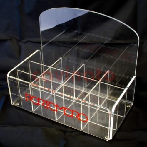 Espositore in plexiglass a scomparti per mini ombrelli.  Lavorazione PLEXIGLASS Milano: Cavinato acrylics s.a.s. - Dal 1949 - Espositori, portabrochure, portadepliants