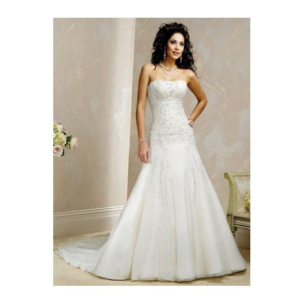 Beaded Applique Ruched Strapless Fit-To-Flare Organza Modern Wedding Dress
