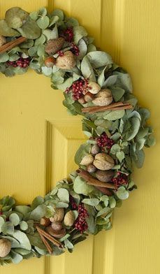 Cute and smells good! i LUV THE use of the eucalyptus instead of the traditional pine. Wintry Eucalyptus Wreath - The invigorating fragrance of eucalyptus makes this wreath an aromatic delight for the December holidays.