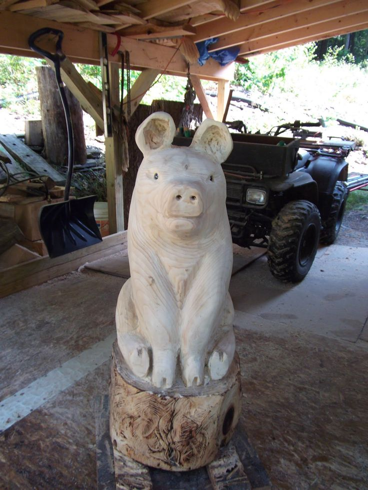 Chainsaw Carved Pig Chain Saw Wood Carvings Pinterest