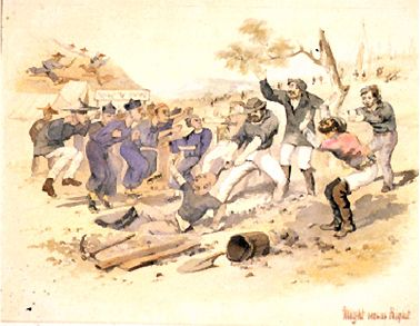Lambing Flat riots 1861. Victoria taxed Chinese at £10 a head. This created an illegal trade whereby the Chinese were dropped off at ports in South Australia. Chinese diggers left Australia and went back to China with their gold. It was a drain on the economy. Riots ensued at gold mines between Chinese and European diggers. So all states legislated against Chinese in 1880. Their number quickly declined and many of those who remained grew vegetables for the European community.