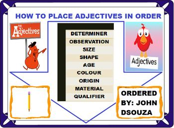 Learning Objectives:Explore the word order of adjectives. Explore the usage of compound adjectives. Demonstrate the usage of word order of adjectives and compound adjectives.This Resource Includes:1. A Detailed Lesson Plan2. Adjective Word Order Rubrics3.