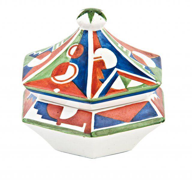 CUBISM DOSE stoneware designed by Pavel Janák 1911, Čechy, návrh P. Janák v r. 1911, výroba fa Graniton, Rydl & Thon Svijany-Podolí, měkká kamenina