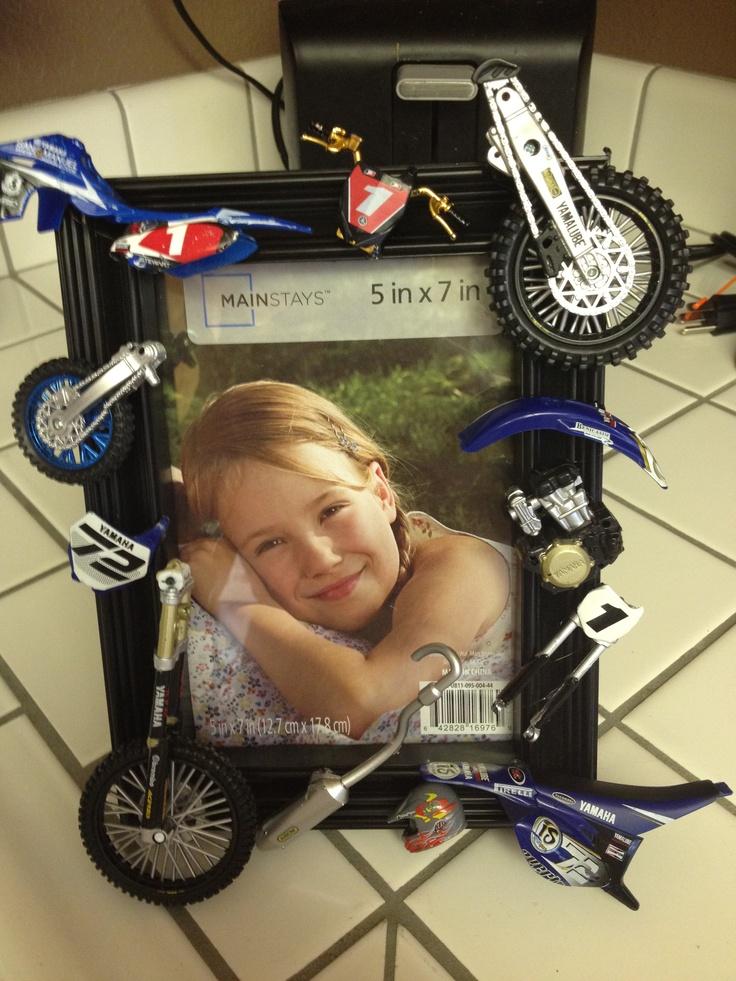 Broken dirt bikes? Make a frame from the toys for boys bedroom.