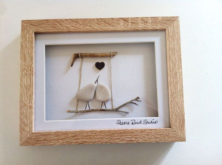 Lovebirds Pebble Art, Engagement Present, Anniversary Present by Pebble Road Studio - Love by PebbleRoadStudio on Etsy