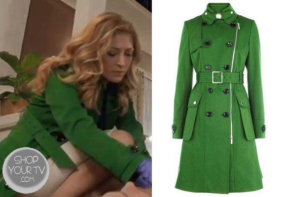 Dress Dr. Maura Isles (Sasha Alexander) wore this forest green cotton trench coat in an episode of Rizzoli and Isles.