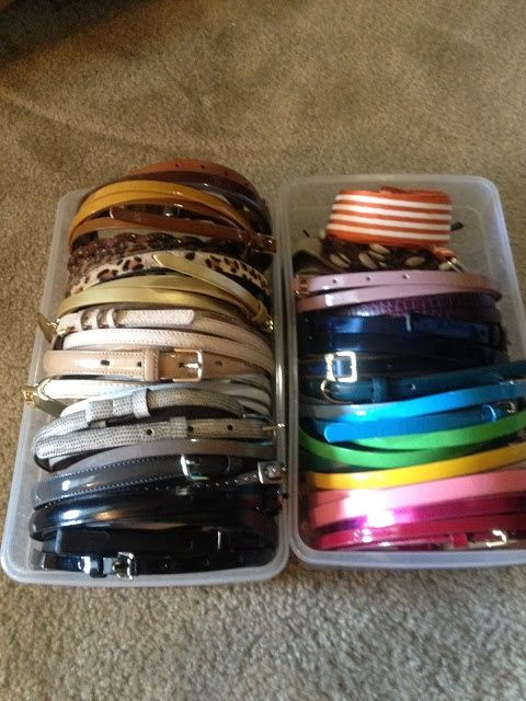Organize Belts In Shoe Boxes