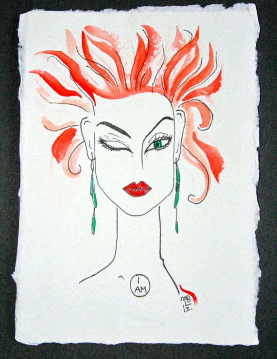 I+AM.+Exclusive+Aquarelle+&+Ink+Drawing+on+by+WildBeautyStudio,+kr180.00