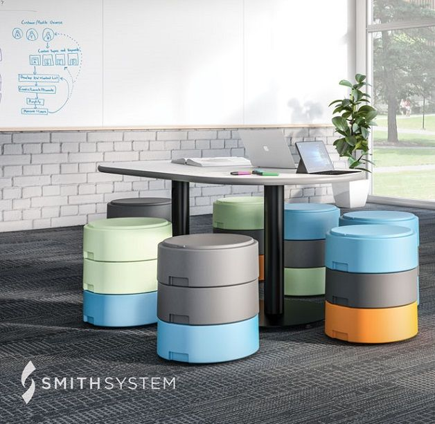 Oodle stools have movement discs for wobble use, or flip for a stationary classroom stool.