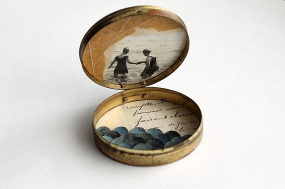 Swimmers  Mixed Media Art Assemblage Box by paperiaarre
