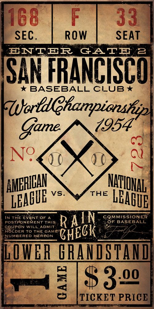 Vintage Style baseball ticket canvas poster. We will fix the fact that the example is San Francisco and fix it to who it should be. GO BLUE!