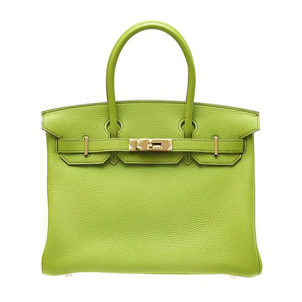 Hermes Birkin Bag 30 Vert Anis/Anis Green Togo Leather Gold Hardware ❤ liked on Polyvore featuring bags, handbags, hermes, bolsas, 100 leather handbags, hermes purse, genuine leather bag, hermes bag et green bags