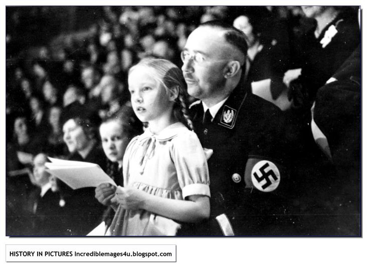 Himmler with his favourite daughter, Gudrun. Hard to understand but the monster turned so gentle when with Gudrun