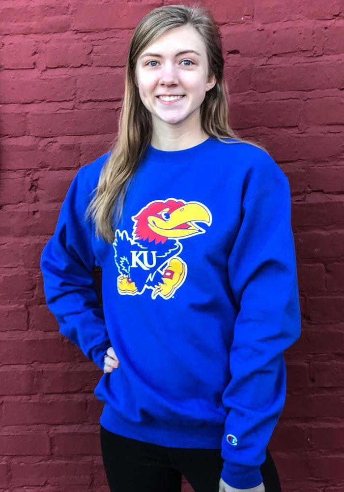 1351601c Champion Kansas Jayhawks Mens Blue Big Logo Long Sleeve Crew Sweatshirt