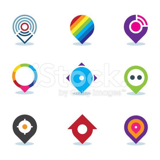 Modern world app global position locator community internet icon royalty-free stock vector art