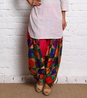 Multicoloured Cotton Resham Thread Work Patiala Salwar