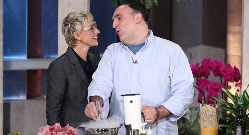 Ellen learns new recipes from chef, José Andrés. José Ramón Andrés Puerta (born 13 July 1969 in Mieres, Asturias; married w/ 33 daughters) is a Spanish chef often credited for bringing tapas (the small plates dining concept) to America. He has restaurants in  DC, Beverly Hills, Las Vegas, So. Beach. He trained under Ferran Adrià at the restaurant El Bulli. Both taught a culinary physics course at Harvard U.