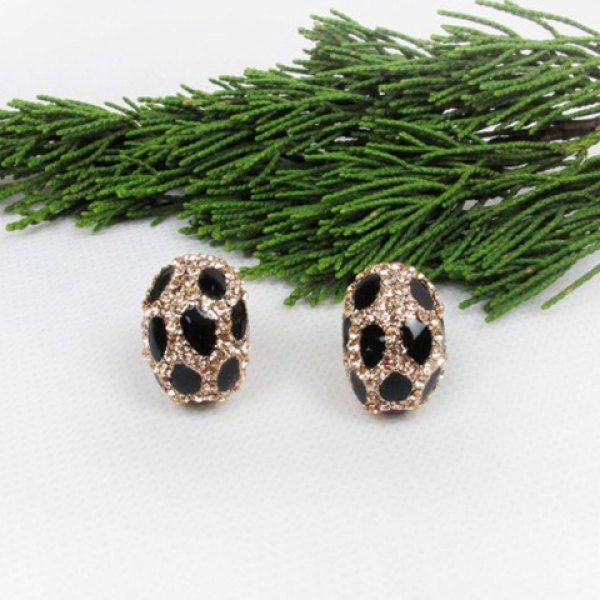 Fashion Graceful Style Rhinestone Embellished Leopard Pattern Women's Stud Earrings #men, #hats, #watches, #belts, #fashion