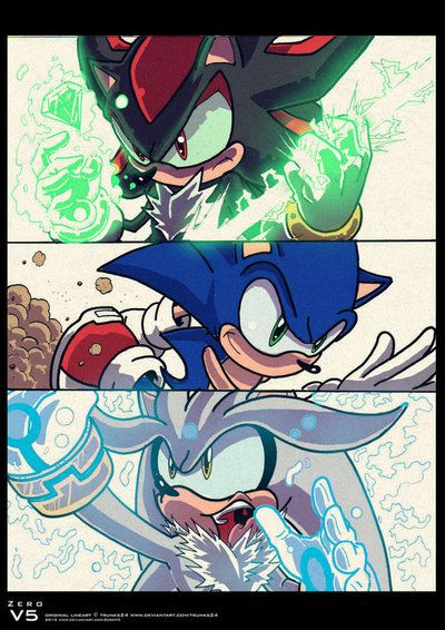 Wow... Sonic the Hedgehog, Shadow the Hedgehog, and Silver the Hedgehog... This is AMAZING artwork.