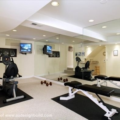 """mirrors add width to narrow room"" ""basement exercise room"