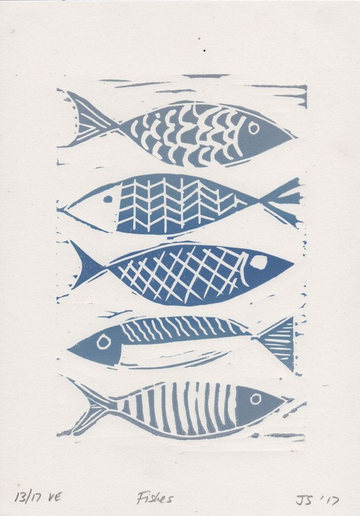 This linocut print of blue fish is an original hand pulled limited edition linoprint by DESIGN SMITH. This pretty print would be ideally suited for displaying in a bathroom setting or as a gift...