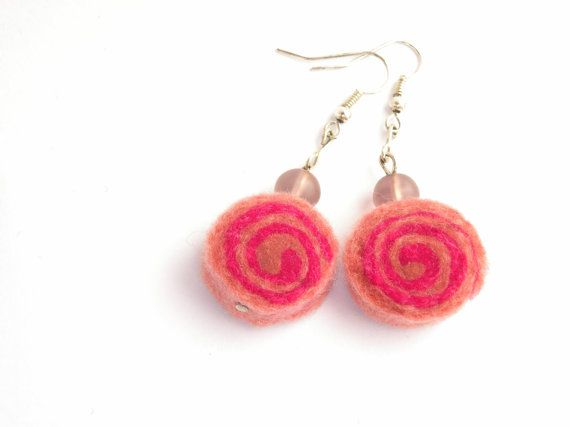 Pink earrings, girl power, felted rolls no 68, very light, colorful earrings, unique pattern, sushi rolls, gift for her, felt earrings