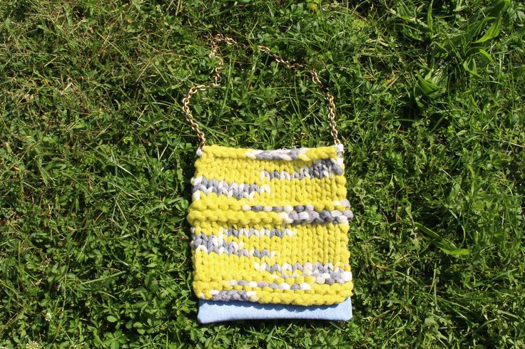 Yellow, white, light blue and denim, cotton, knitted handmade purse  * borsa…