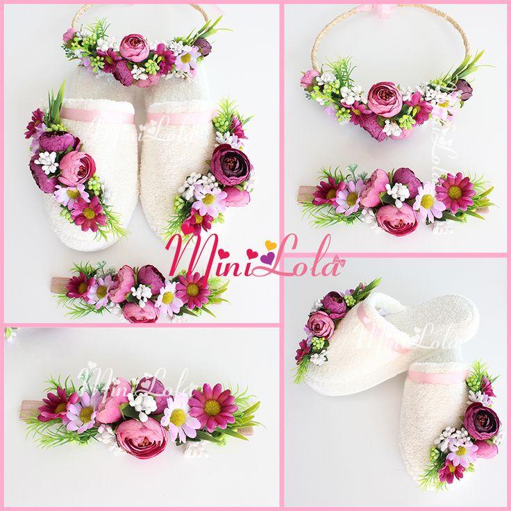 Mor lila küçük erengül çiçekli yeşilli papatya çiçekli lohusa seti