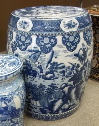 Blue and White Chinese Porcelain garden seats from blue white vases.