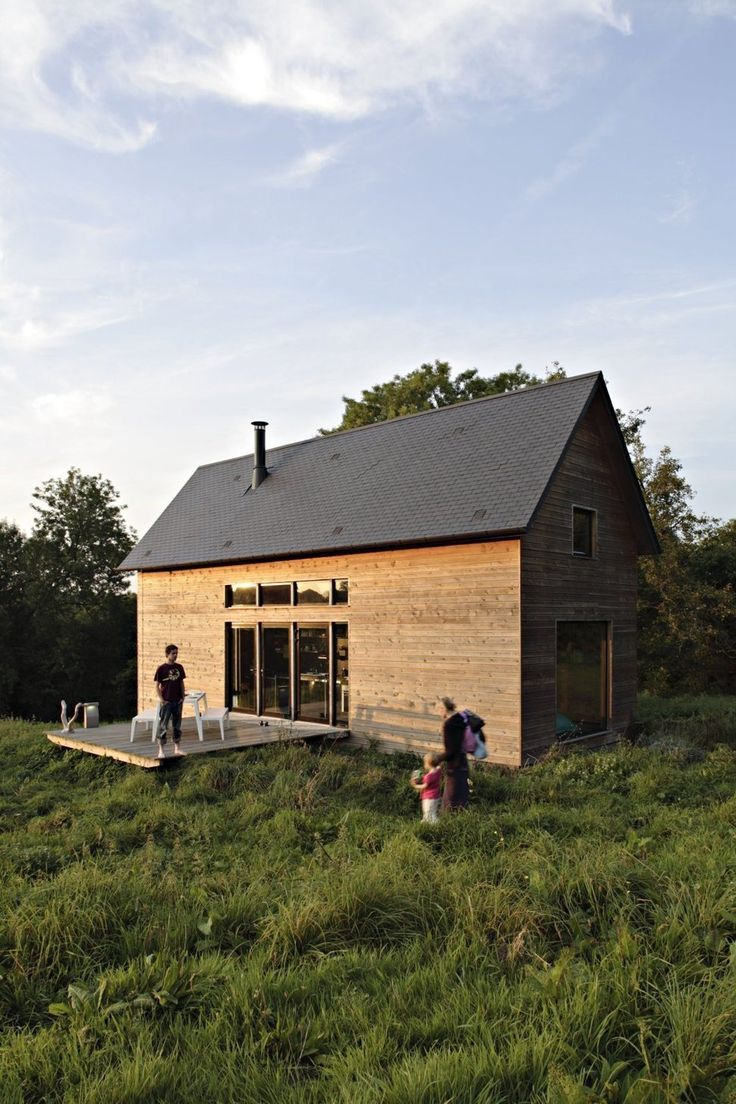 Set in Normandie, France, this small cabin has been designed by Amaud Locoste and Jerome Vincon of Lode Architecture. The cabin, called The F House, has been built on the foundation footprint of an existing barn on the one hectare site.