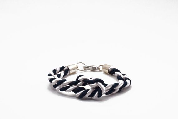 Nautical bracelet in white and navy blue satin cord by Beh1ndByMK