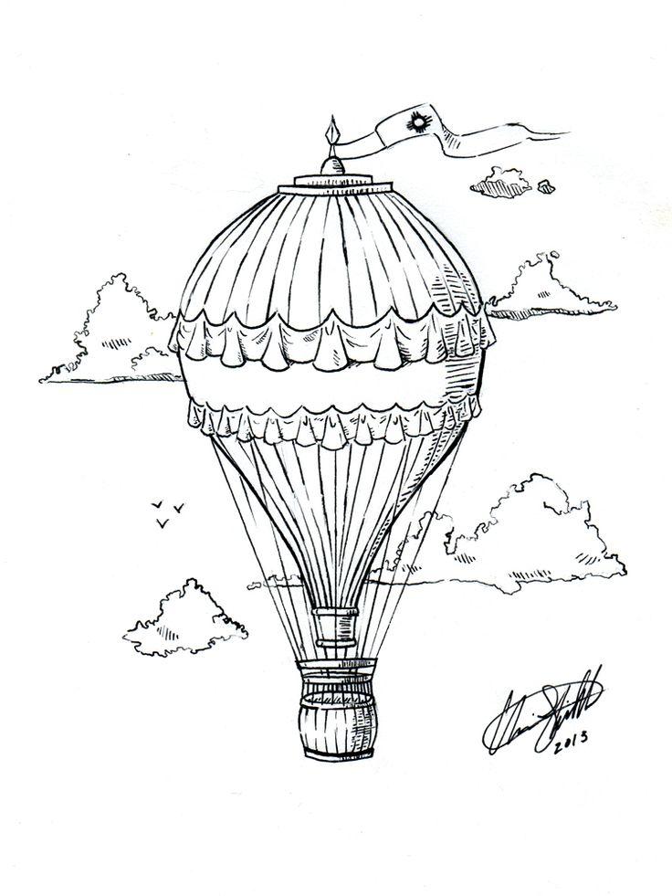 Hot Air Balloon Tattoo by C-Fillhart